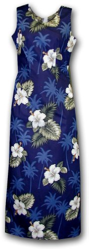 Hawaiian Dresses Hibiscus Island Long Tank Navy XL 321-2798
