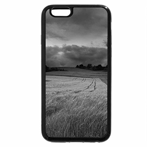 iPhone 6S Plus Case, iPhone 6 Plus Case (Black & White) - storm-clouds-over-the-green-field