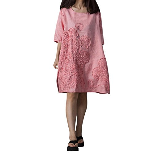FEITONG Women Half Sleeve Embroidery O Neck Floral Patchwork Cotton Linen Loose Bohe Casual Dress(Small,Pink)