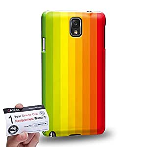 Case88 [Samsung Galaxy Note 3] 3D impresa Carcasa/Funda dura para & Tarjeta de garantía - Art Hand Drawing Rainbow Flag