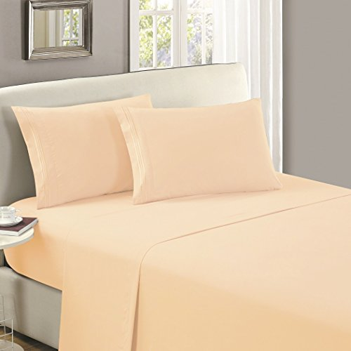 Mellanni Flat Sheet Full Beige - HIGHEST QUALITY Brushed Microfiber 1800 Bedding Top Sheet - Wrinkle, Fade, Stain Resistant - Hypoallergenic - (Full, Beige)