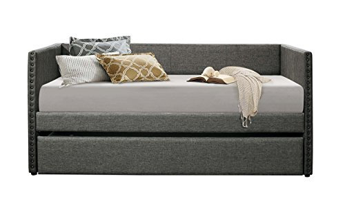 Learn More About Homelegance Therese Tuxedo Daybed with Nailhead Accent, Twin, Polyester Gray