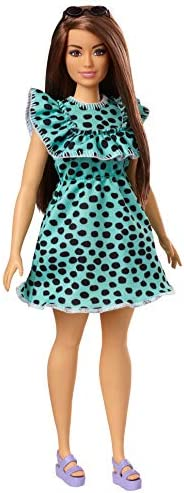 Barbie Fashionistas Doll with Long Brunette Hair Wearing Graphic Black & Aqua Polka-Dot Dress, Purple Sand