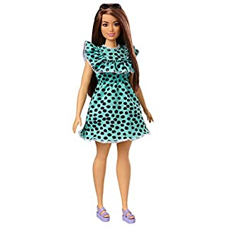 Barbie Fashionistas Doll with Long Brunette Hair Wearing Graphic Black & Aqua Polka-Dot Dress, Purple Sandals & Sunglasses, Toy for Kids 3 to 8 Years Old, Multi (GHW63)
