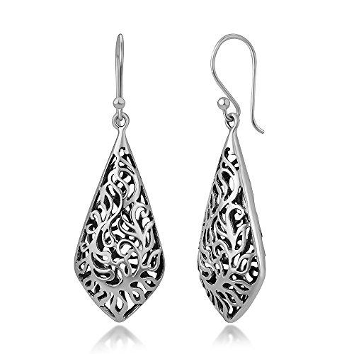 925 Oxidized Sterling Silver Bali Inspired Open Detailed Filigree Puffed Dangle Hook Earrings 1.9