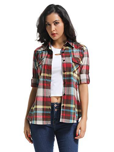 OCHENTA Women's Long Sleeve Button Down Plaid Flannel Shirt M011 Coffee White XS (Plaid Flannel Western Shirt)