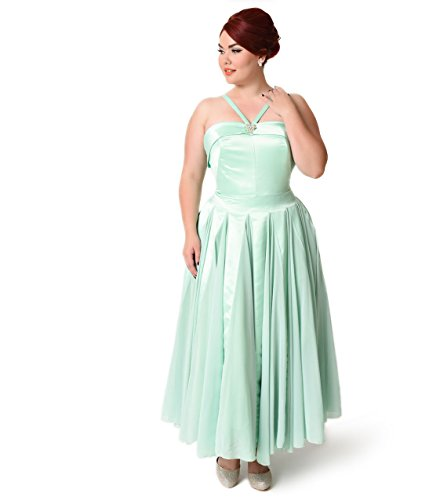 Iconic by UV Plus Size Mint Satin & Chiffon Dovima Ballerina Swing Dress