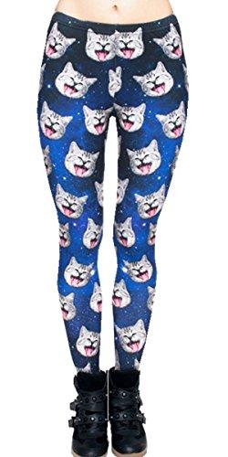 Ndoobiy Women's Printed Leggings Full-Length Regular/Plus Size Yoga Workout Leggings Pants Soft Spanx Capri L1(cat OS)