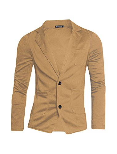 Allegra K Men Classic Notched Lapel Two-Button Blazer L Beige - Notched Lapel Blazer