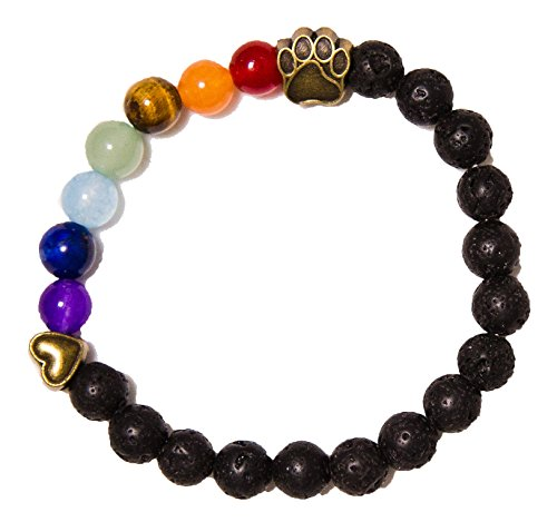 Dogs Bridge Rainbow (Rainbow Bridge Lava Bead Pet Memorial Bracelet by iHeartDogs | Provides 7 Meals for Shelter Animals in Honor of Your Beloved Pet)