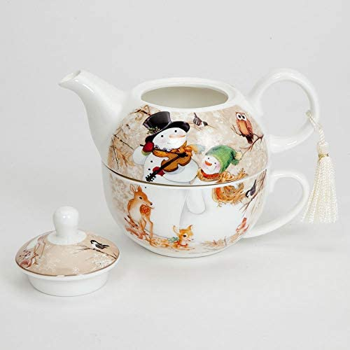 Bits and Pieces Includes Decorative Gift Box Tea For One Snowman Porcelain Teapot and Cup Set Elegant Winter Design With Delicate Tassel on Teapot Handle Makes Great Decoration