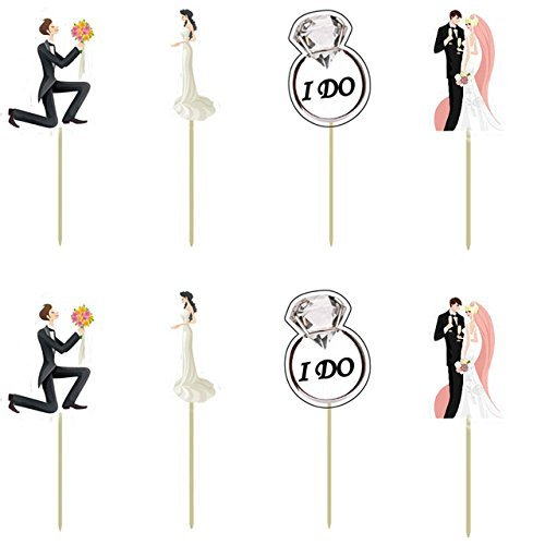 Bling Story Set of 24 Bride & Groom Cake Toppers Cupcake Picks Wedding Engagement Bridal Shower Party Decorations
