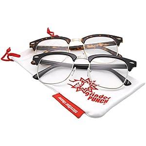 grinderPUNCH Half frame Clear Lens Classic Sunglasses