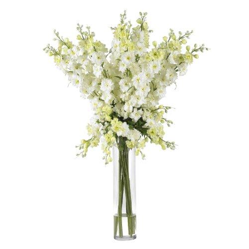 Nearly Natural 1224-WH Delphinium Silk Flower Arrangement, White