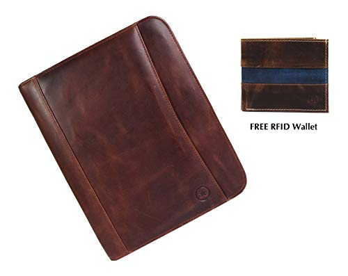 Legal Leather Street (Zippered Genuine Leather Business Portfolio |Easy to Carry Organizer With Writing Pad Holder,Business Card and Pen Slots.IPAD Holder and Flip-Closure Phone Pocket by Aaron Leather)
