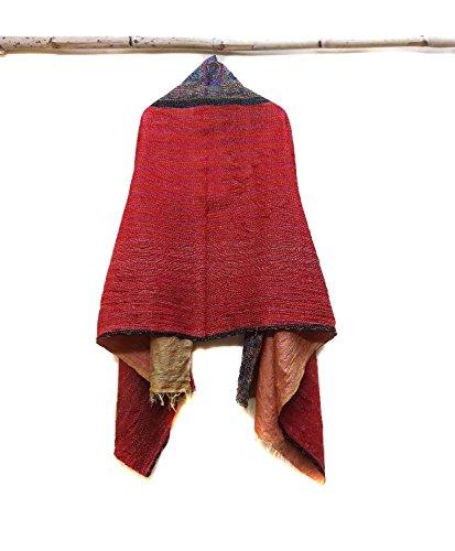 Silk Kantha Scarf Vintage Neck Wrap Stole Dupatta Hand Quilted Women Shawl