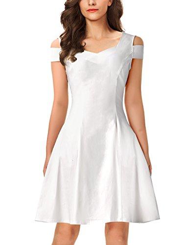 InsNova Women's White Dress Off Shoulder Cocktail Holiday A-line (Juniors Skater Dress)
