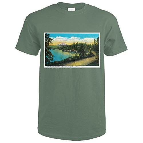 Lake Washington Boulevard and Mt. Rainier (Military Green T-Shirt XX-Large)