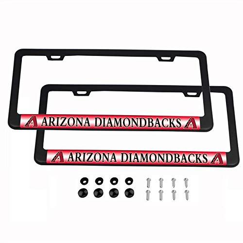 Arizona Diamond State Plate - 2PCS MLB Lightweight License Plate Frames Black Matte Powder Coated Aluminum - Arizona Diamondbacks
