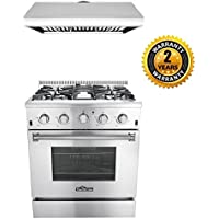 Thor Kitchen 2-Piece Kitchen Package with 30 Pro Style 4 Burner Stainless Steel Gas Range, and 30 Under Cabinet Range Hood Stainless Steel