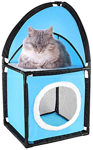 - Portable Cat Condo - Two Tier Corner Cat House - Kitty Furniture With Plush Hammock Bed - Breathable Soft Material For Jumping Climbing Play Sleeping - Great For Travel - Kitten Approved (Light Blue)