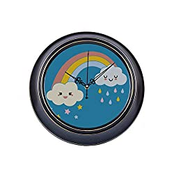 14inch Large Silent Non Ticking Big Decorative Wall Clock Happy Smiling Cute Rainy Stars Clouds Metal Farmhouse Decor Wall Clock Quality Quartz Battery Quiet Wall Clock Room Decor For Home Office