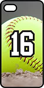 Softball Sports Fan Player Number 16 Black Rubber Decorative iphone 6 4.7 Case