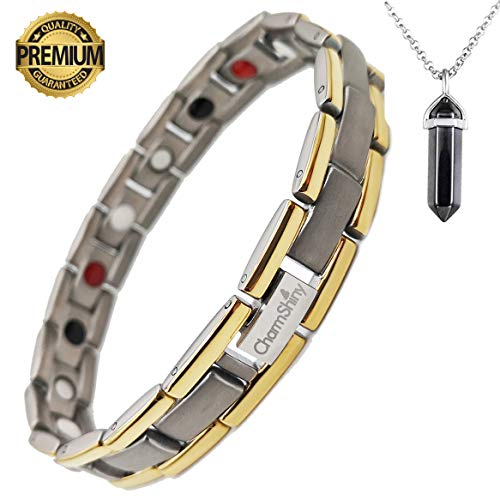 Titanium Magnetic Bracelet Therapy with 4 Element for Men/Women Arthritis Pain Relief Carpal Tunnel Insomnia+Hematite Pendant Necklace(Powerful Set) ()