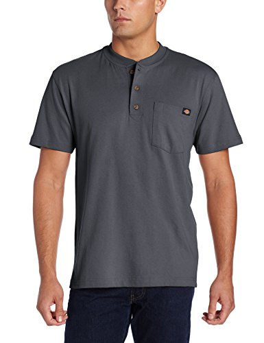 (Dickies Men's Heavyweight Henley, Charcoal, Medium)