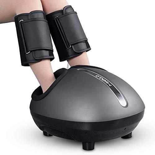 Shiatsu Foot & Leg Massager Machine Tespo Electric Deep Kneading Massage with Heat, Foot & Leg Air Compression, Relieve Foot Pain from Plantar Fasciitis, Improve Blood Circulation