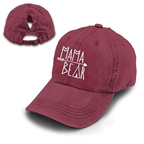OASCUVER Mama Bear Denim Hat Adjustable Female Stretch Baseball Hats (Ponytail Red, One Size)