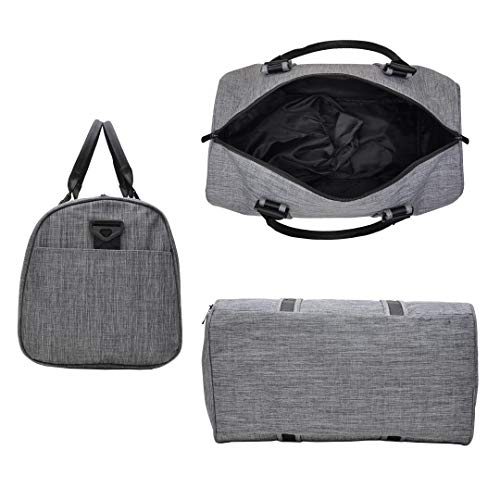 VSWIG Sports Gym Bag Holdall Weekend Travel Gym Duffle Bag for Women Men With Shoe Compartments Grey