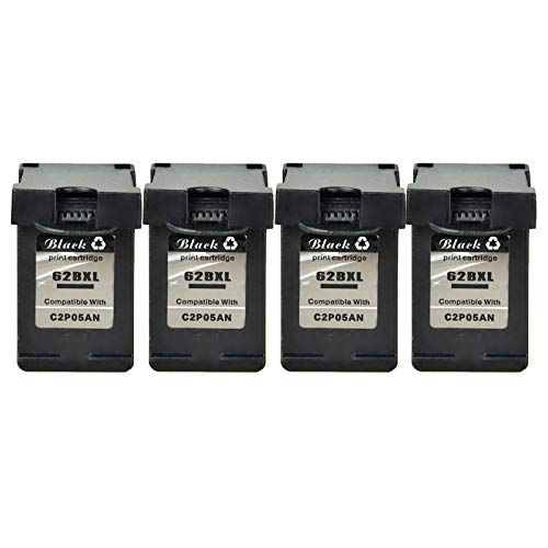 KCYMTONER 4 Pack Remanufactured for HP 62 XL 62XL C2P05AN Hi