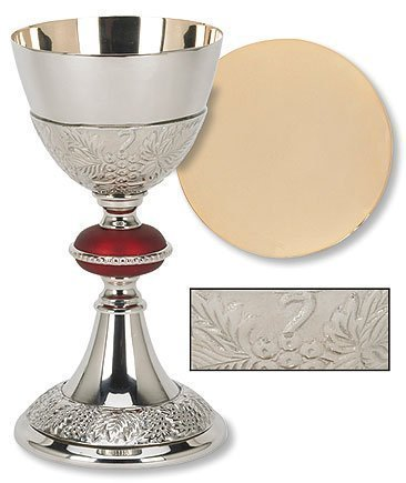 Catholic Brass 24KT Gold Tone Grape Patterned Red Node Chalice and Paten Set