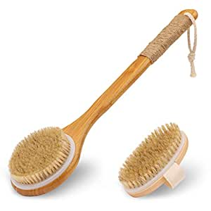 Vextronic Shower Brush, Bath Body Brush for Dry or Wet Brushing, Set of 2 Back Brush with Natural Bristles for Exfoliation, Improve Lymphatic, Stimulate Blood Circulation, Massage Skin and Reduce Fat