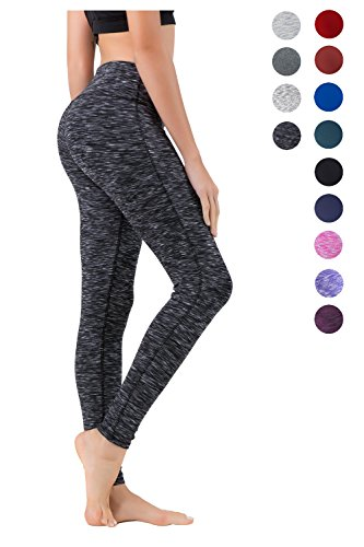 Queenie Ke Women Power Flex Yoga Pants Workout Running Leggings - All Color Size L Color Black Grey Space Dye Long