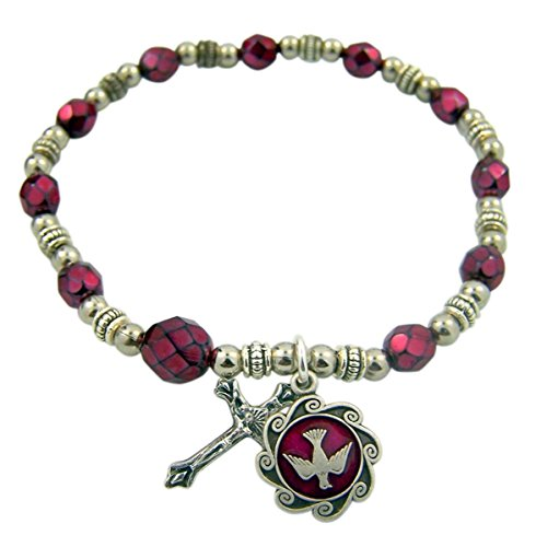 Silver Tone Base Confirmation Holy Spirit Red Bead Rosary Bracelet, 7 -