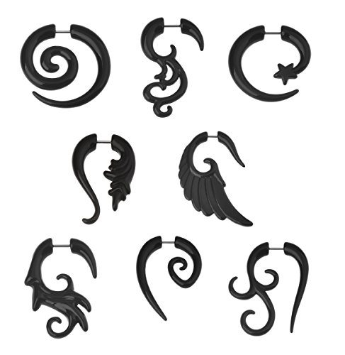 8 Pairs Black Acrylic Spiral Wing Faux Taper Wild Tribe Stud Earrings Set Barbell Fake Ear Plug Piercing