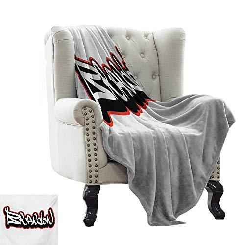 (RenteriaDecor Brandon,Lightweight Blanket Urban Street Culture Hip-hop Theme Lettering Individual Name Design 70