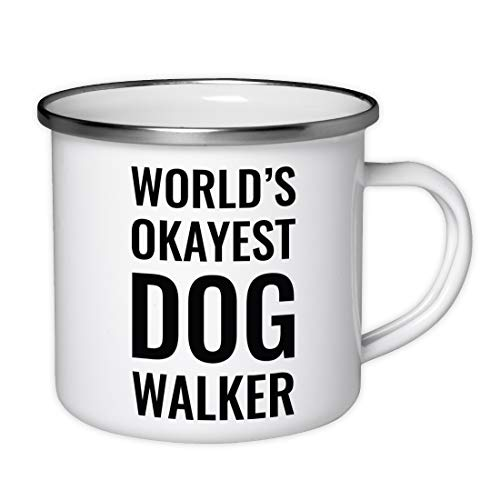 (Andaz Press 11oz. Stainless Steel Campfire Coffee Mug Gag Gift, World's Okayest Dog Walker, 1-Pack, Enamel Metal Camping Camp Cup Christmas Birthday Present Ideas, Includes Gift Box)