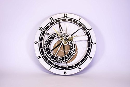 Prague wall clock Made from 3 Layers of plywood in Black color, white and Color wood Gorgeous wall clock Housewarming gift Great gift friend (Clock Prague Wall)
