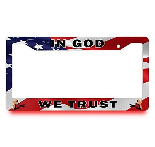 in God We Trust American Flag License Plate Frame, DIY Licenses Plate Covers for Both Front and Back, License Tag Stainless Steel Metal License Plate Holder