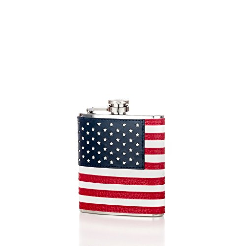 North Shire Mens Womens Pocket Hip Flask for Liquor 6 Oz, Heavy Duty 304 Stainless Steel with American Flag Leather Wrapped Cover and 100% Leak Proof