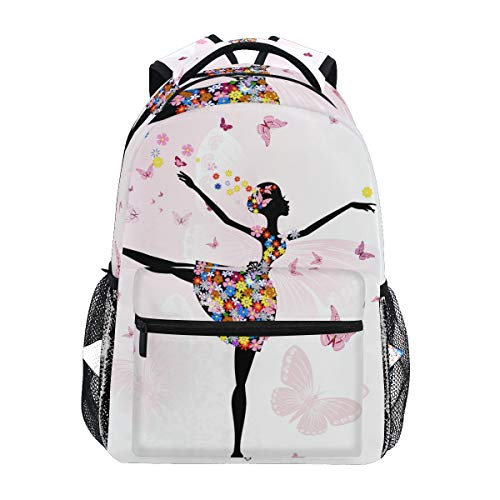 Ballerina Girl Flowers Butterfly Backpack Women Men Teen