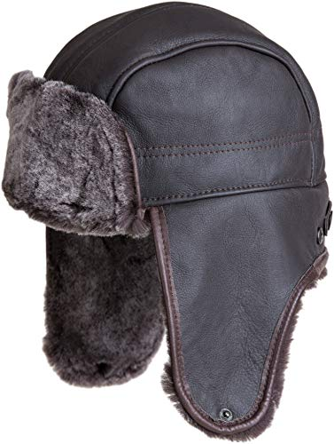 Spanish Shearling Sheepskin Convertible Trapper Hat