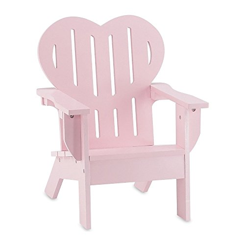 Heirloom High Chair (18 Inch Doll Furniture | Beautiful Pink Outdoor Adirondack Chair with Heart Shaped Back | Fits American Girl Dolls)