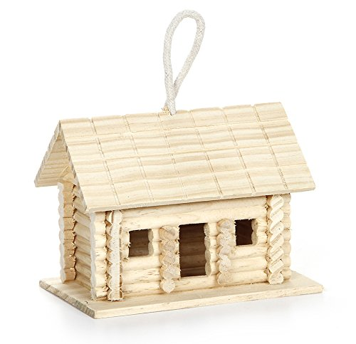 Darice 9190-128 Log Cabin Style Bird House with Hanger for Craftwork, 6 by 4 by 4.5-Inch ()