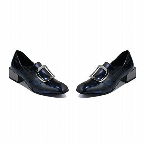 Carolbar Womens Lage Hakken Vierkante Toe Monniken Lage Hakken Loafers Schoenen Blauw