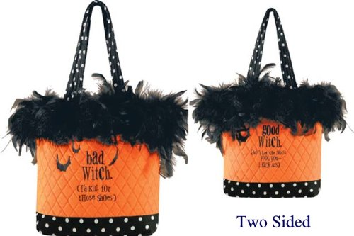 (2 Sided Ruffle Tote, Good/ Bad Witch, Halloween Fashionista, 10x13 Inches)