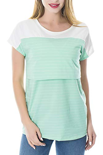 Smallshow Women's Maternity Nursing Tops Breastfeeding T-Shirt Large Green